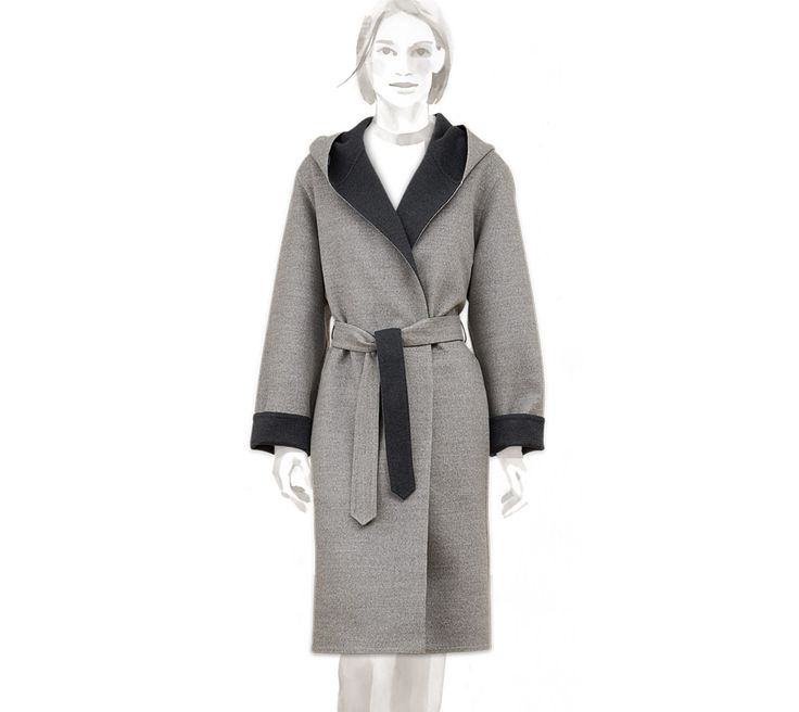 Belted wrap coat Hermes wrap coat with reversible hammered belt in steel  gray virgin wool, cashmere)<br><br>This item may have a shipping delay of  days.