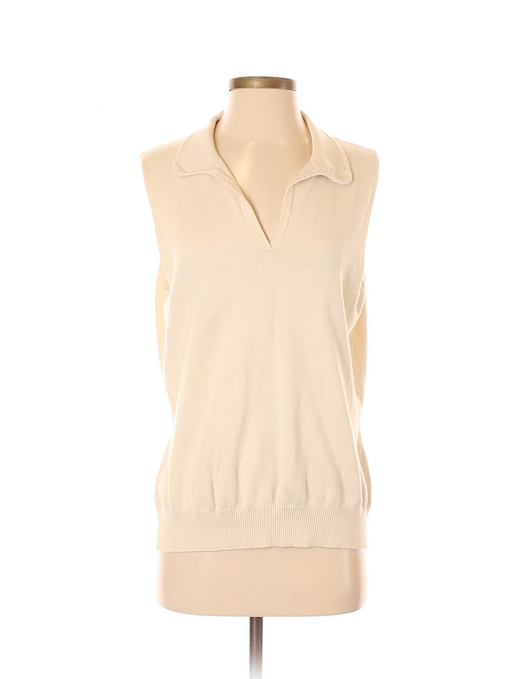 Lands' End Silk Pullover Sweater: Beige Solid V Neck Women's Sweaters & …