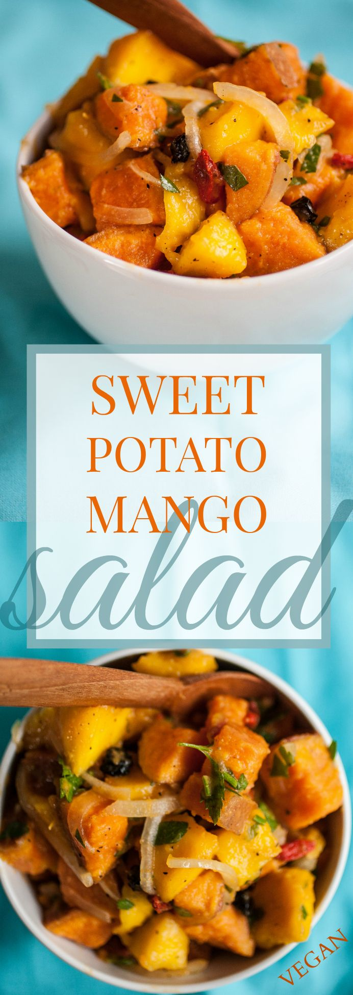 Produce On Parade - Sweet Potato Mango Salad - A delicious spin on regular potato salad. This sweet potato mango salad is studded with dried berries and dressed with lime juice and olive oil.