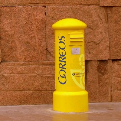 Mailbox post. Yellow comunication in Spain.