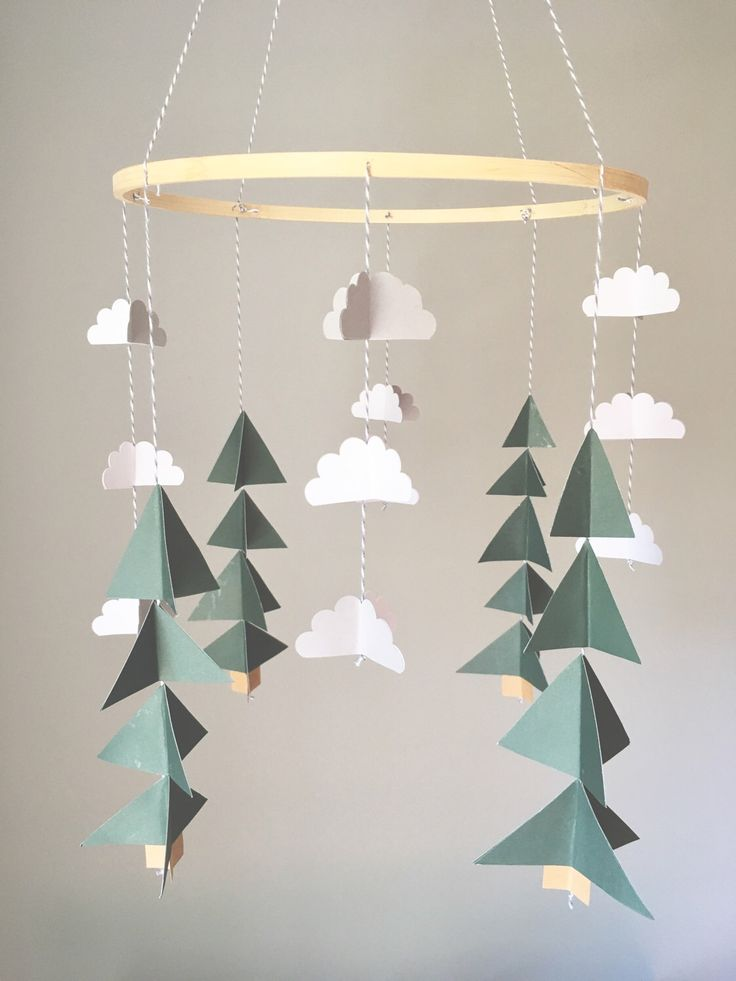 Tree mobile, camping mobile, woodland mobile, cloud mobile, camping bedroom, boys room, rustic nursery, forest mobile, mountain mursery by UpUpandAwayDesignCo on Etsy https://www.etsy.com/listing/502776682/tree-mobile-camping-mobile-woodland