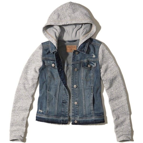 Hollister Hoodie Denim Jacket ($50) ❤ liked on Polyvore featuring outerwear, jackets, ripped medium wash, blue jean jacket, hooded utility jacket, pattern jacket, denim jacket and print jacket