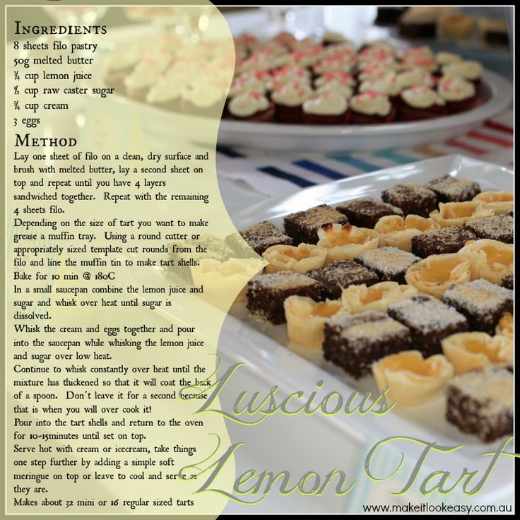 Filo pastry shells make these little lemon tarts really easy to make and a little lighter than with a shortcrust shell.  #lemon #lemontart https://www.facebook.com/makesitlookeasy