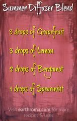 Summer Diffuser Essential Oil Blend. Try this awesome diffuser blend for a great summertime aroma. 3 drops of Grapefruit essential oil. 3 drops of Lemon essential oil. 2 drops of Bergamot essential oil. 1 drop of Spearmint essential oil. Visit our website at https://earthroma.com/pages/essential-oil-uses-recipes for more recipes.