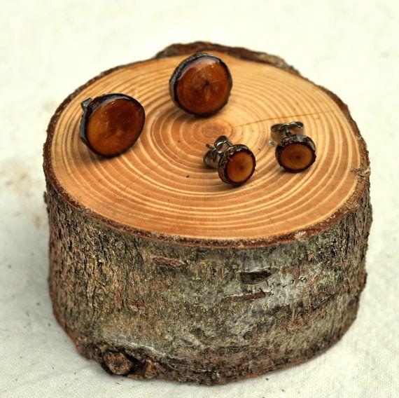Wooden Stud Earrings Douglas Fir Wood Earrings Eco Resin