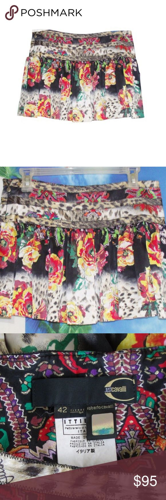 Just Cavalli Floral Ruffle Motif Mini Skirt Just Cavalli pleated skirt   Size 42 = 8 US.   Made from 100% silk.  Pristine condition. No flaws.  Waist: 32 inches Hip: 38 inches Length: 13.5 inches Just Cavalli Skirts Mini