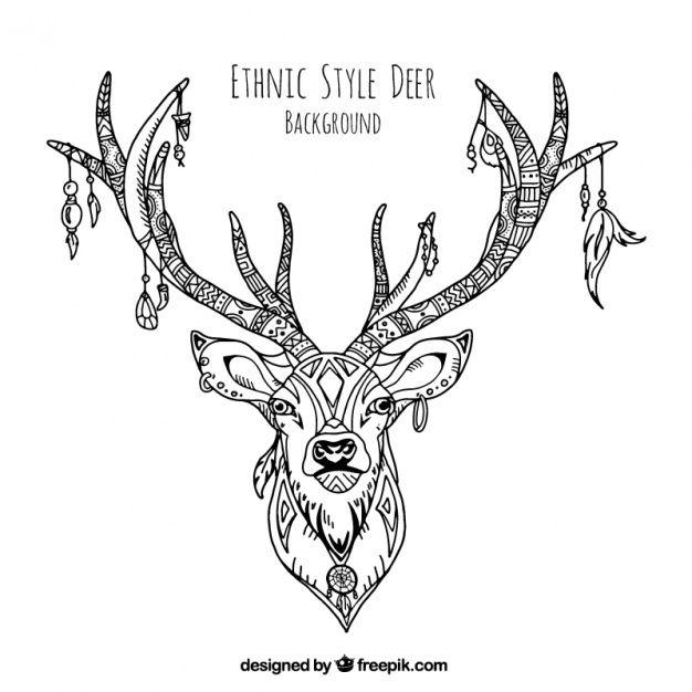 Декоративная иллюстрация рисованной этнических оленей Бесплатные векторы