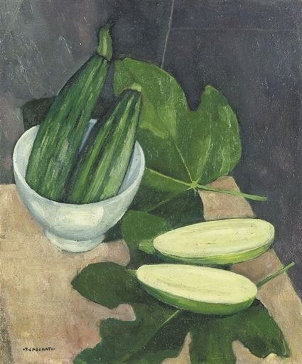 Felice Casorati (Italian, 1883-1963), Scodella e Zucchini Bowl and Zucchini, (1942) Oil on canvas, 46 x 38 cm.