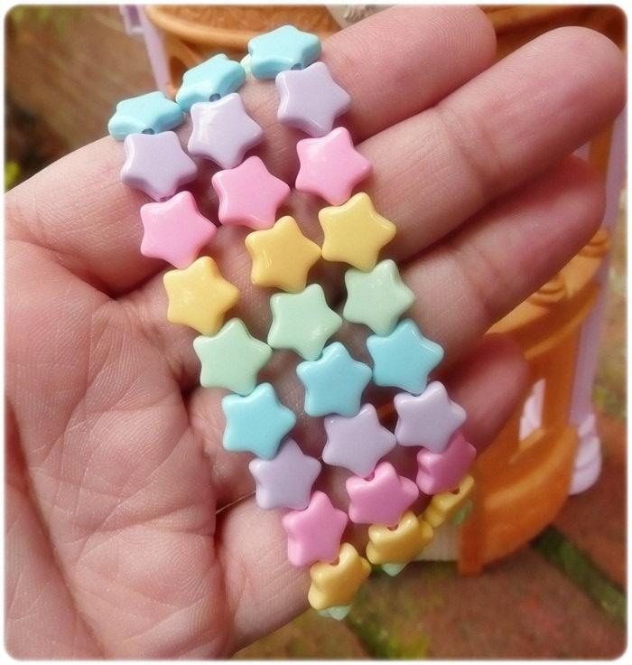 3 Pastel Stars Bracelets Kawaii Candy Cute Girl Girly Bow Lolita Whimsical Kitsch fairy kei. $9.00, via Etsy.