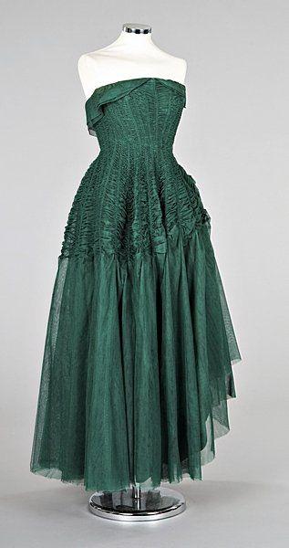 Jeanne Lanvin emerald green tulle ball gown, Summer 1949