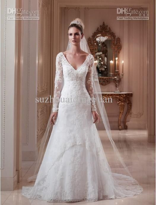 Wholesale champagne wedding dress buy ivory v neck long for Lace wedding dress davids bridal