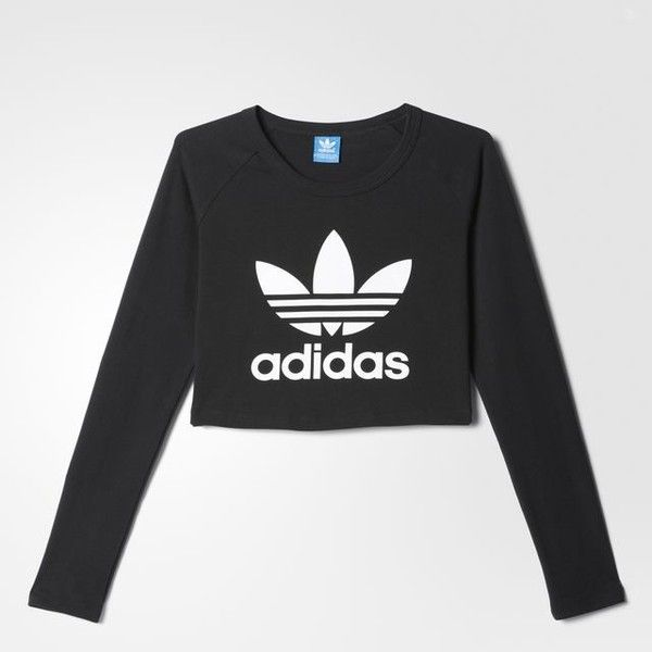 adidas Crop Longsleeve Tee - Black | adidas Australia ($36) ❤ liked on Polyvore featuring tops, t-shirts, longsleeve t shirts, long sleeve crop top, adidas, cut-out crop tops and adidas top