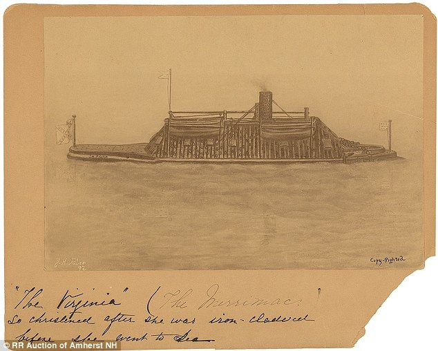A sketch of the Confederacy's most famous warship The Virginia is seen as the first steam-powered ironclad warship of the Confederate States Navy