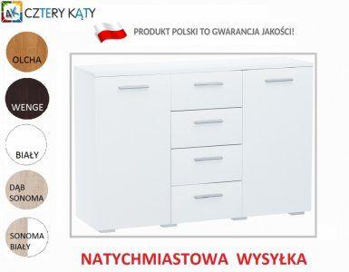 Kup teraz na allegro.pl za 210,00 zł - KOMODA szafka 2D4S KEPLER  BIAŁA…