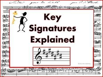 KEYS and KEY SIGNATURES explained! ♫ A 35 page PDF file that guides students through how to discover ALL major and minor key signatures! ♫ Two key signature worksheets (with answer key)