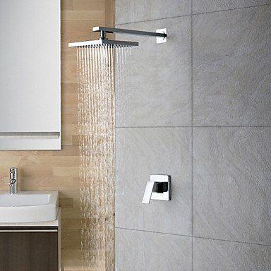 LightInTheBox� Chrom Wandmontage Niederschlag-Dusche Taps Obenkopfbrause Badewanne Dusche Mischbatterien Einhebelmischer Duschsystem mit Dusche Arme Toilette Armaturen einzigartige Designer-Duscharmaturen einziges Loch Wandmontage Duscharmaturen
