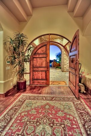 Southwestern Front Door with exterior tile floors