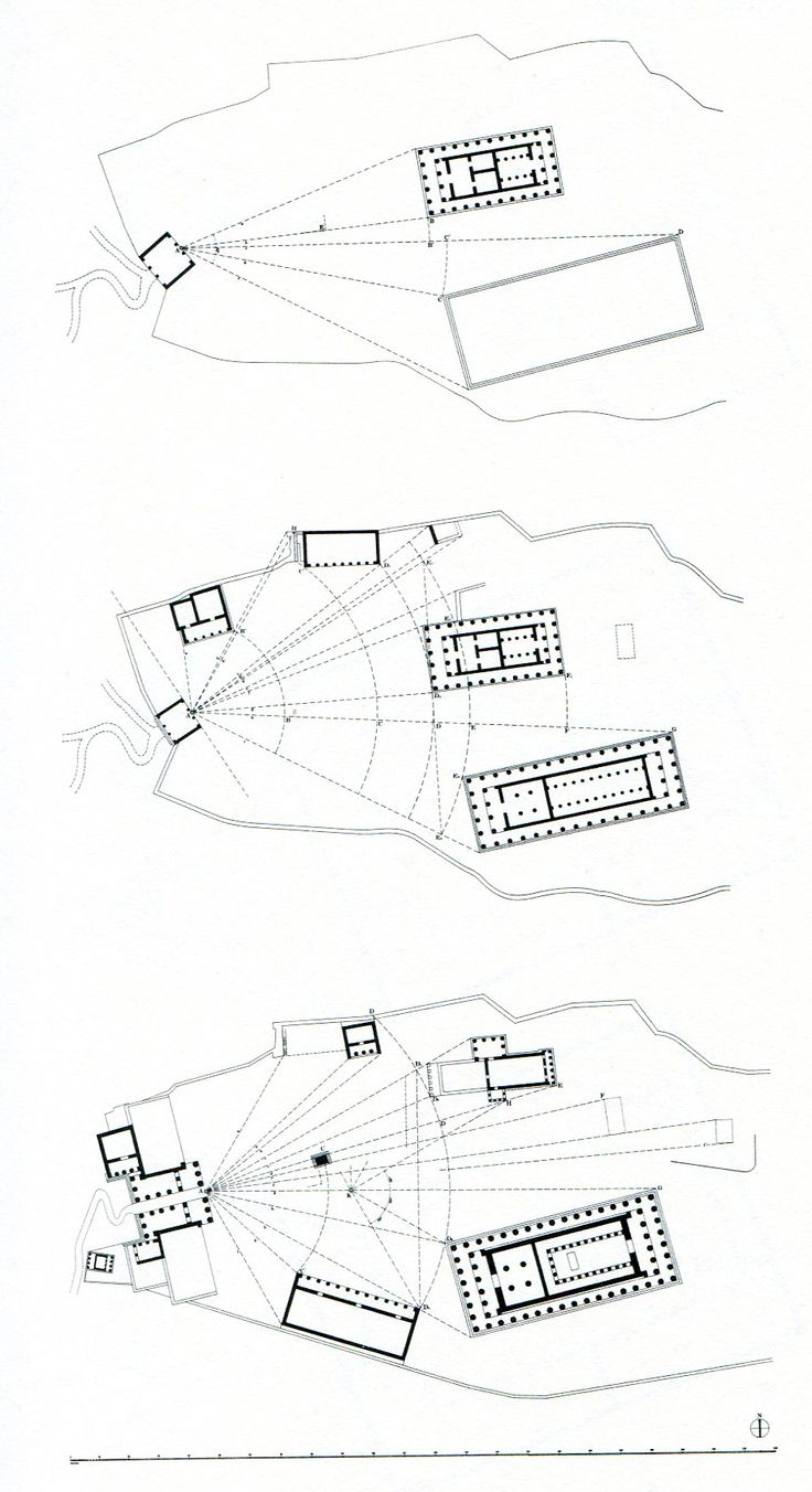 """The Acropolis, from """"Constantinos Doxiadis [...] on the system of polar coordinates used to place buildings in space. Prior to the rational Hippodamian grid (5th century BC), this conception was based on the human viewpoint, taking the entrance to a site as the reference from which all the optical perspectives would start from. [...] Gaps between buildings are meticulously choreographed and limited to a minimum, the elevation of one building immediately following its neighboring one."""""""