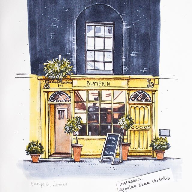 I love sketching façades, especially when it has such a beautiful combination of colours  @bumpkinlondon