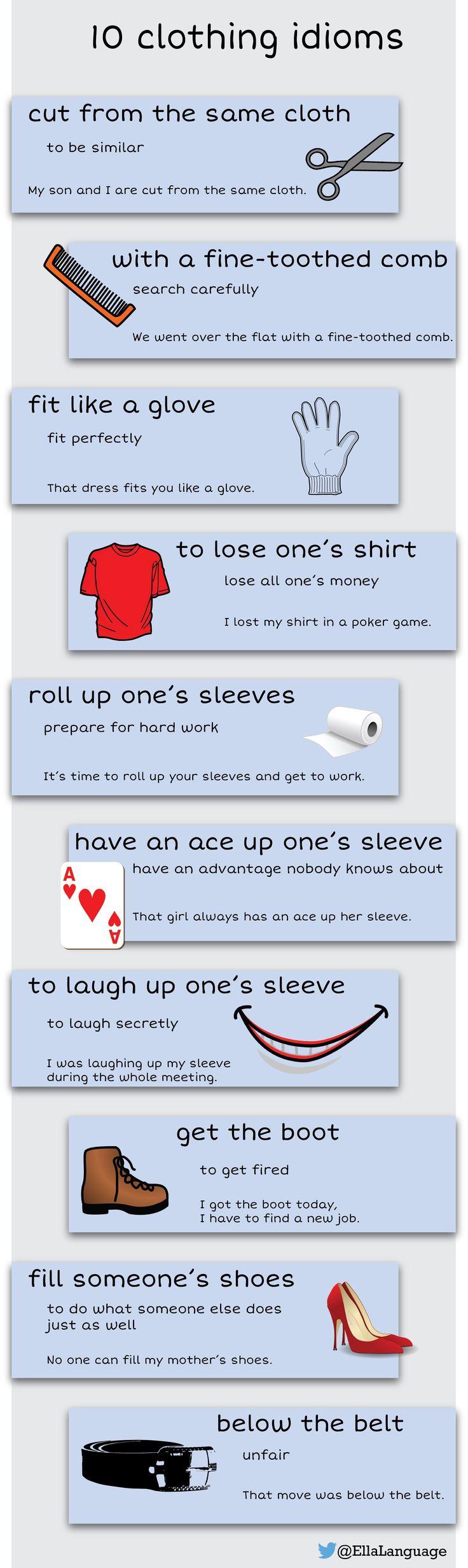 10 clothing idioms #idioms #ESL #ELT #infographic