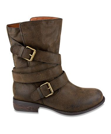 Loving this Brown Short Buckle Boot on #zulily! #zulilyfinds ~~cuter with silver accents~~