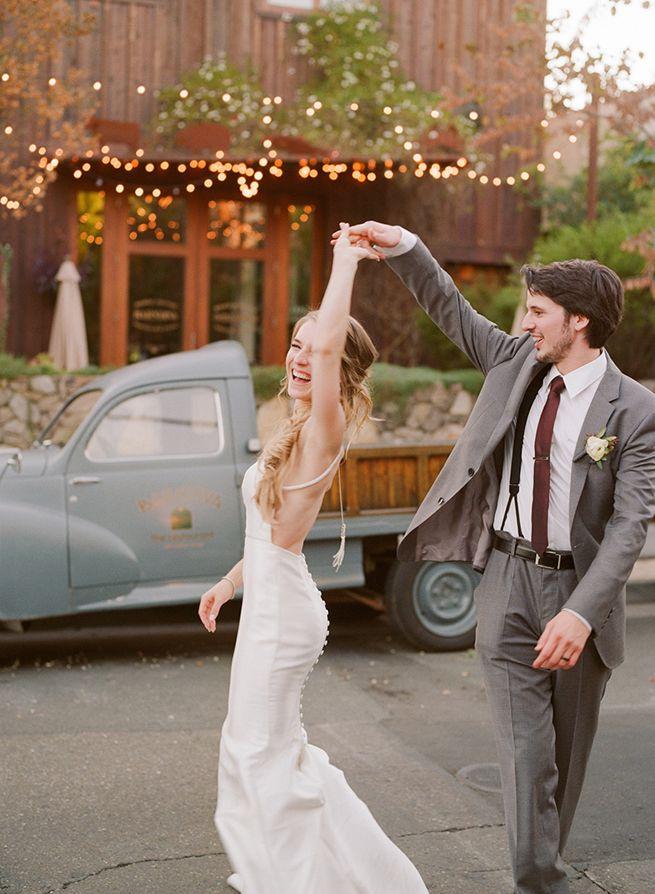 Playful wedding photography from Christina McNeill.  Barndiva, Healdsburg wedding photographed on film.  Bride and groom dancing, happiness!