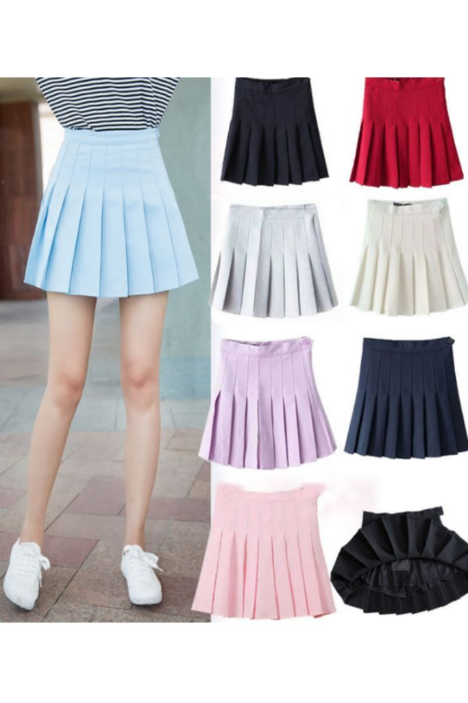 Retro Pastel Color Tennis Pleated Skirt