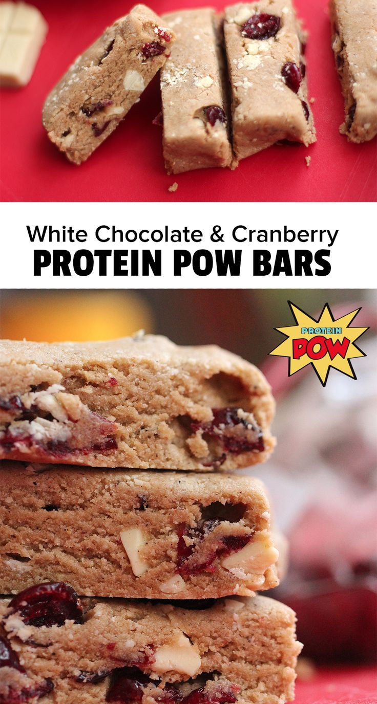 White Chocolate & Cranberry Protein Pow Bars - Protein Pow
