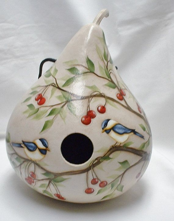 Chickadee with Red Cherries Gourd Birdhouse  by FromGramsHouse