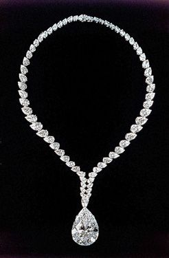 "69.42-carat pear-shape ""Taylor-Burton"" diamond...originally worn as a ring-then converted into a Cartier necklace."