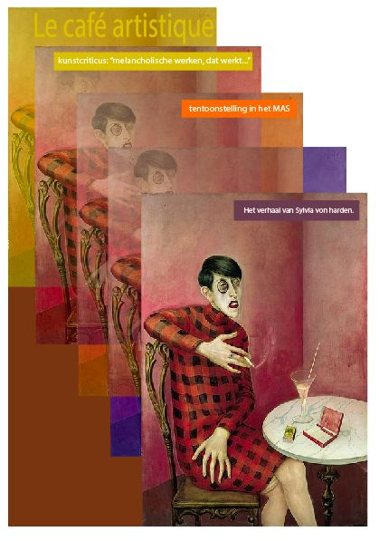 Bij het woord bruin moest ik denken aan de melancholische sfeer in een café. Dit linkte mij naar het werk van Dix. Vervolgens heb ik een cover gemaakt voor een kunsttijdschrift.