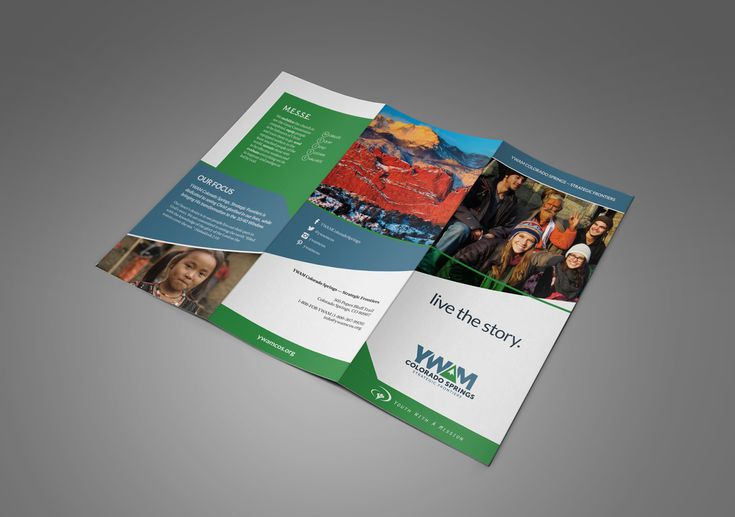 YWAM SF Rebrand Collateral, brochure design, trifold brochure layout