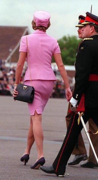 20th May, 1985- Princess Diana pretty in a pink Versace suit