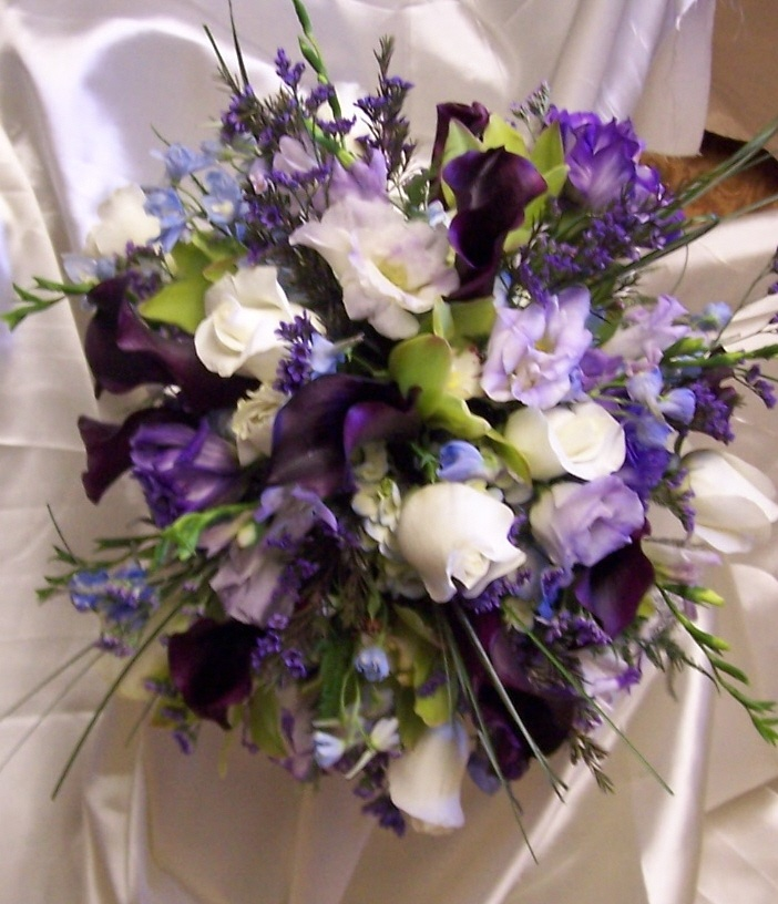 Bridal Bouquet Of White Roses, Green Cymbidium Orchids