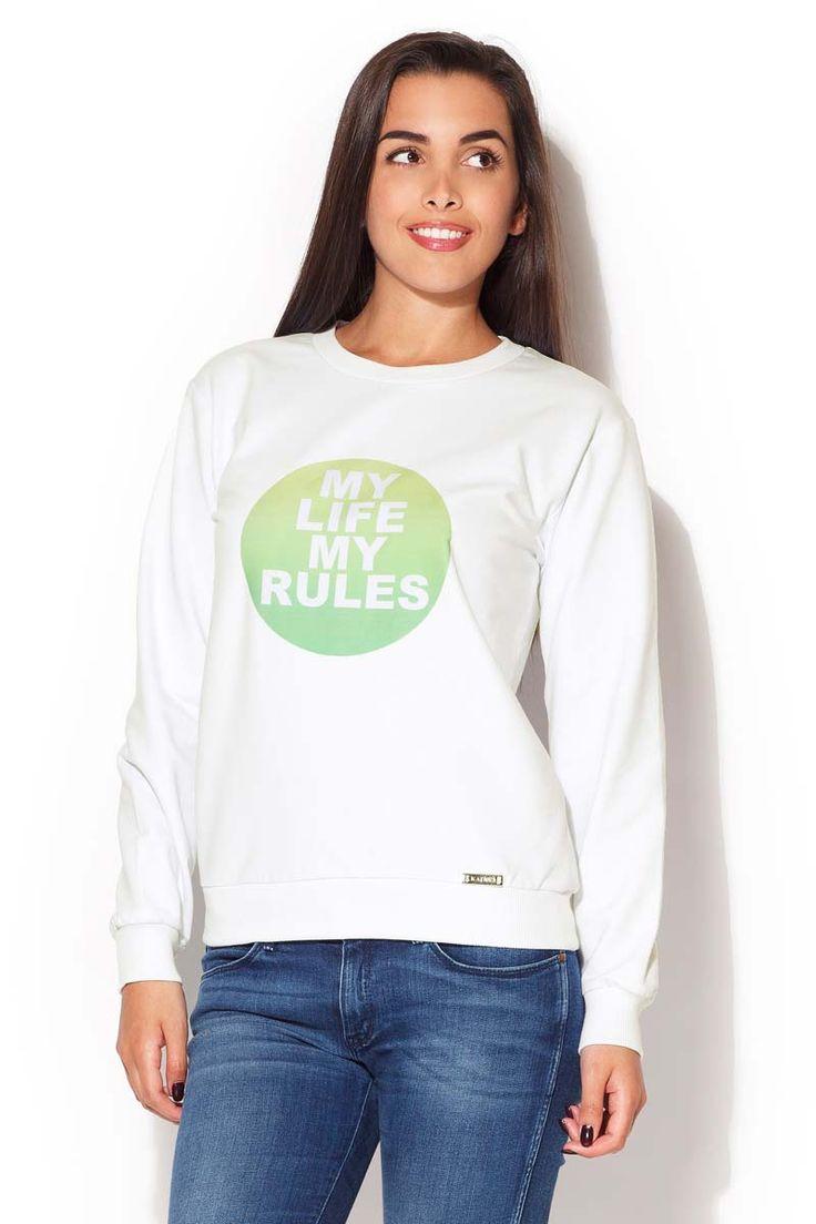 Bluza damska z barwnym logo umieszczonym z przodu i półokrągłym dekoltem