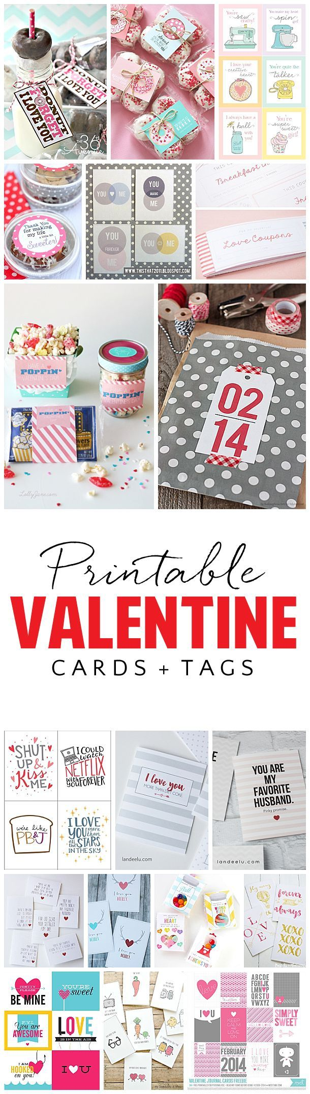 Tons of darling FREE Printables - Valentine's Day Greeting Cards and Gift Ta...