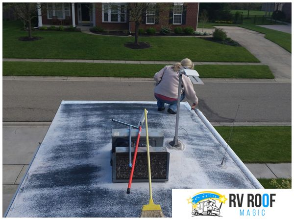 Whether It S For A Leak Or Some Other Type Of Damage It S Also Worth Coating Your Vehicle S Rv In 2020 Rv Roof Repair Roof Repair Roof Leak Repair