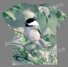 Track Schip + Verse T-shirt Top Tee Kleur Little Chickadee Vogel in Lente Bloem Berk 1023(Hong Kong)