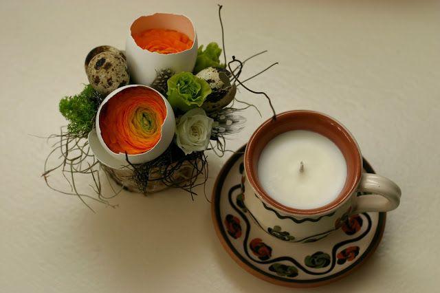 Flowers of Soul: Cutie din lemn cu aranjament floral si lumanare pentru Paste
