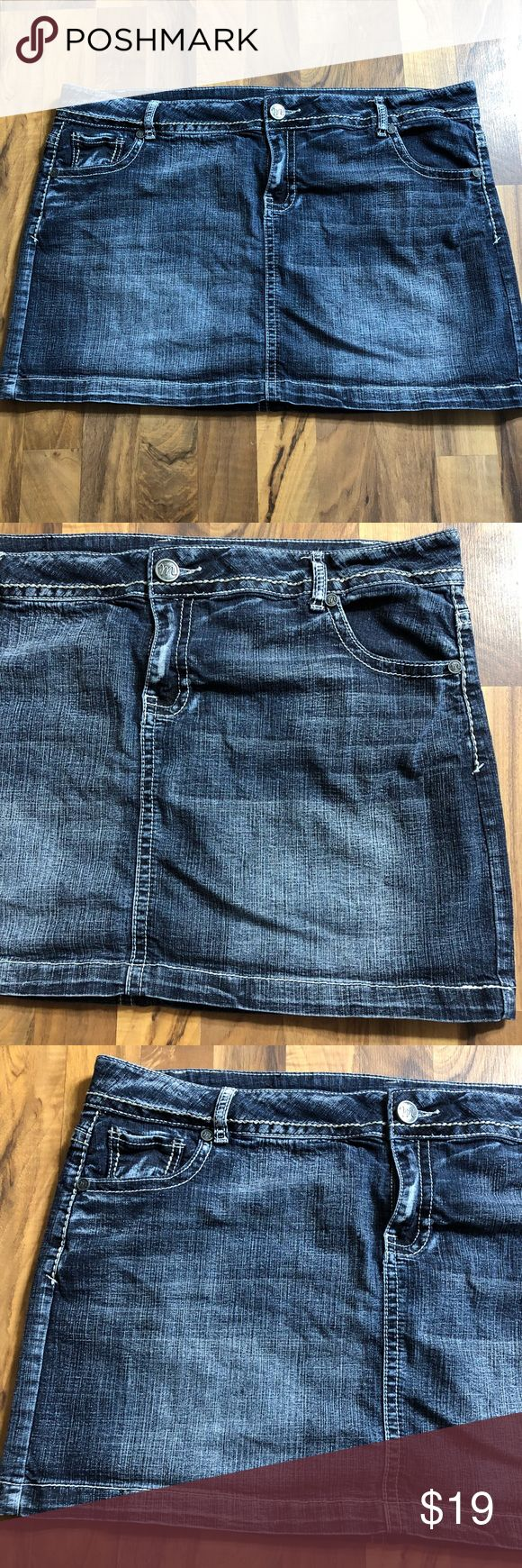 Maurices Size 20 Sexy Blue Jean Mini Skirt This skirt is up for sale! Great condition! Cute!  ❤ Medium blue jean  ❤ Great thread accents, cute butt pockets  ❤ Stretchy material ❤ Size Measured in Pictures 🔍📏   ✅ Bundle up items and save 💲✅  ❤️I love reasonable offers. ❤️ 🎉 Pair w/jewelry, acc. or shoes🎉 🆕 New items every week! 🆕  I'm a mama on a mission. I sell items online to support my 2 sons. Every purchase is important to us. Thanks for your support. Maurices Skirts Mini