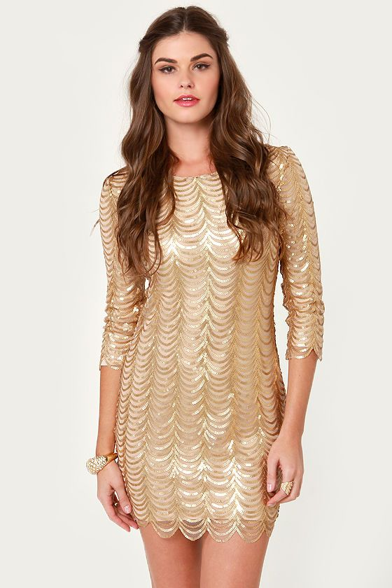 wish i had this to wear for my birthday. Fancy Gold Dress - Sequin Dress - Cocktail Dress - $78.00