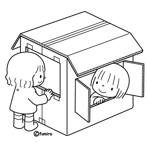 ダンボールのおうち ぬりえ ぬりえ イラスト 幼稚園
