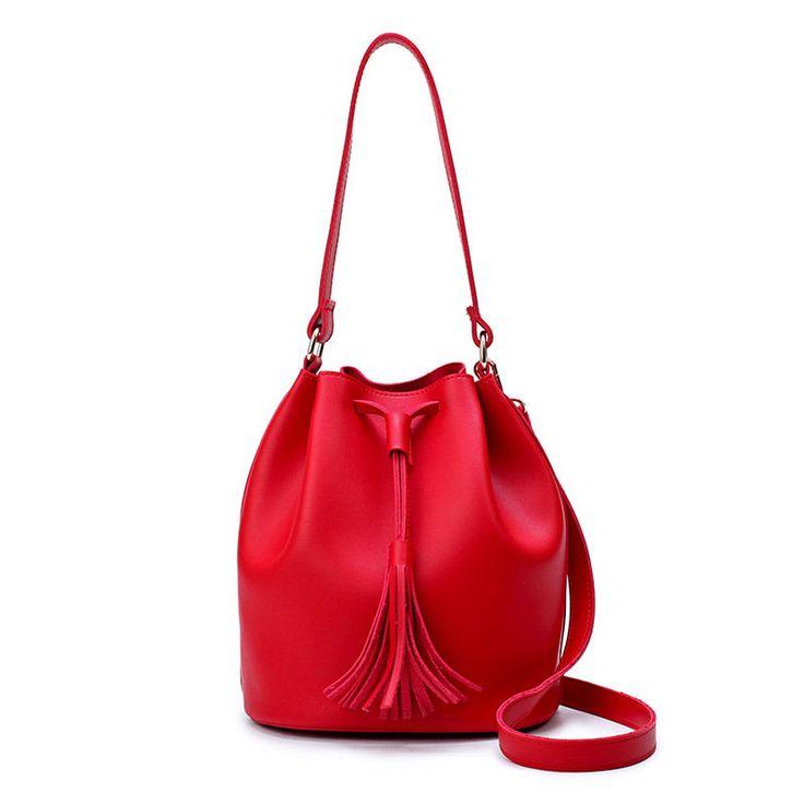 Bagail Women PU Leather Tassel Bucket Bag Vintage Sling Bag Handbag