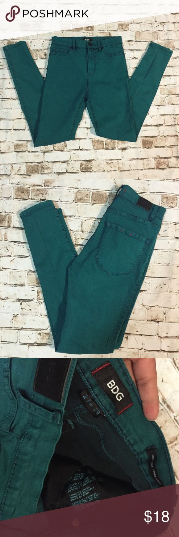 """BDG Sz 27 high rise twig ankle teal skinny jeans 29"""" inseam! Great condition Urban Outfitters Jeans Ankle & Cropped"""