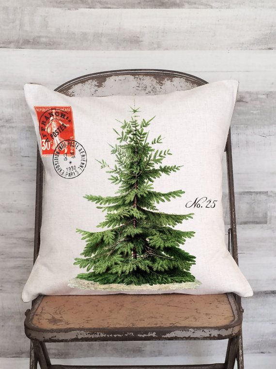 Christmas Pillow Cover Vintage Christmas Tree by JolieMarche