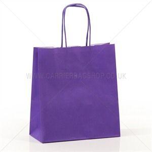 Premium Papiertragetaschen mit Kordelgriffen lila