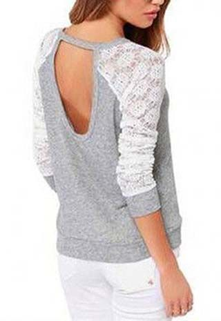 Casual Lace Long-Sleeve Grey and White T-Shirt. Trendy Road