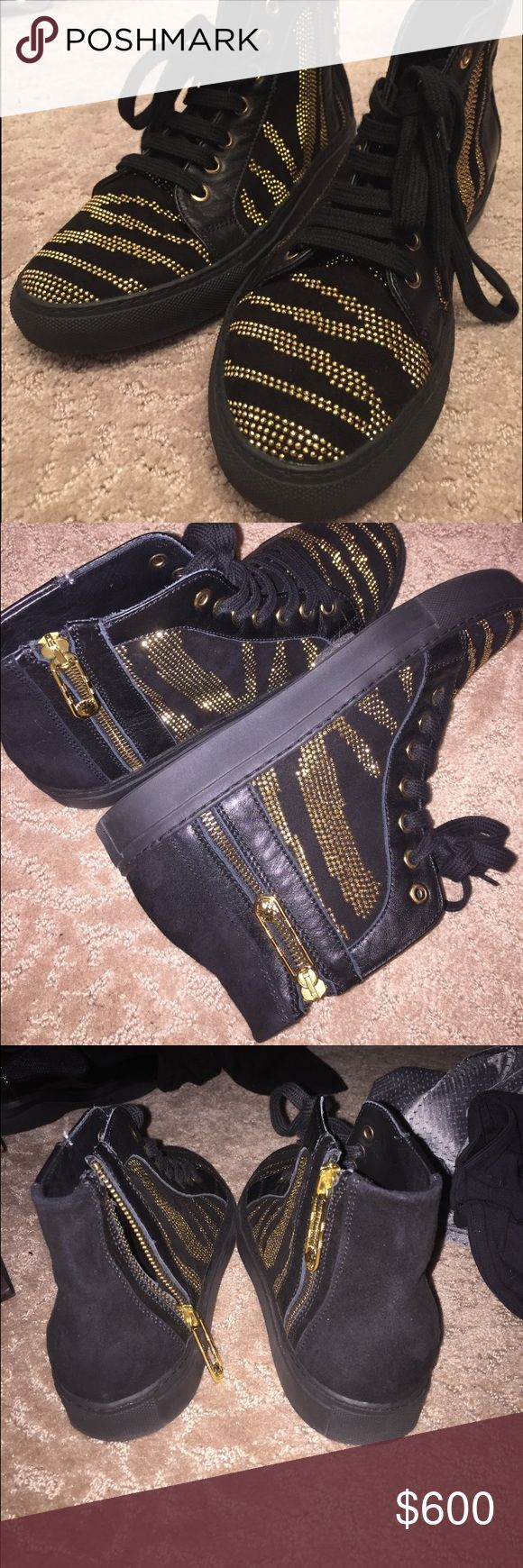 Versace gold studded sneakers 9/10 condition. Only worn about 3 times. Will go lower on 🅿️🅿️ Versace Shoes Athletic Shoes
