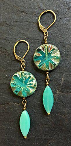 Handgemachte Perlen Ohrringe aus Glas, Böhmischen und Messing Perlen. Blei und Nickelfrei.