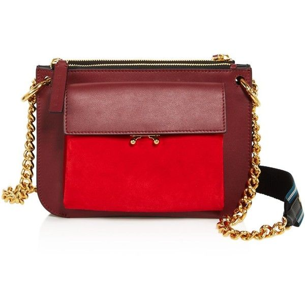 Marni Bandoleer Suede Shoulder Bag ($1,340) ❤ liked on Polyvore featuring bags, handbags, shoulder bags, red hand bags, red shoulder bag, red shoulder handbags, shoulder bag purse and suede purse